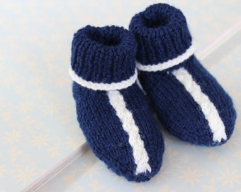 Baby Booties, Navy Booties, Boys Booties, Blue Booties, Woollen Booties, Knitted Shoes, Hand Knit Booties, Funky Booties, 3 to 6 months