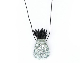 Silver Pineapple with Sequins – necklace