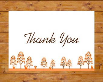INSTANT DOWNLOAD Fall Thank You Card - Autumn Thank You Card - Printable Thank You Card - Foldable, Digital File