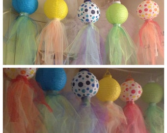 Decorative Party Jellyfish Lanterns with Tulle Fabric-Choose your color!!!