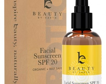 Facial Sunscreen - Facial Moisturizer with SPF 20 - Organic & Natural Ingredients, Mineral Sun Block - All Skin Types - Reef Safe - USA Made