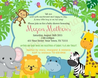 Jungle Themed Baby Shower Invite