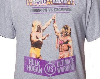 Hulk Hogan vs Ultimate Warrior Grey Shirt