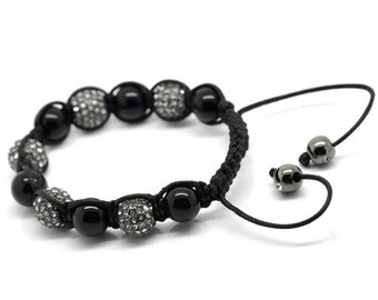 Black Onyx Rhinestone Macramé Shamballa Bracelet 7-10 Inches Adjustable