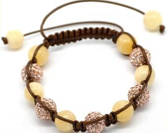Yellow Topaz Champagne Rhinestone Brown Macramé Shamballa Bracelet 7-10 Inches Adjustable