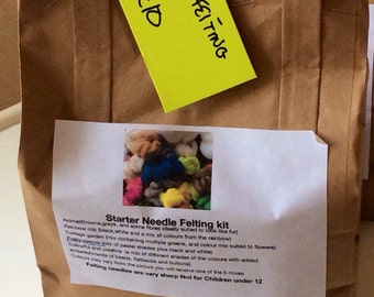 Starter Needle Felting Kit ideal for beginners. Made with merino wool