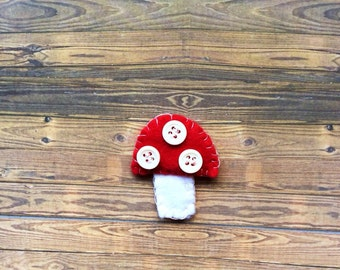 Hand sewn toadstool, felt and button brooch