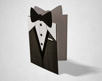 Wedding and Party Invitation, Tuxedo / Groom Greeting /, James Bond, Casino Style Parties and Events Blank Inside