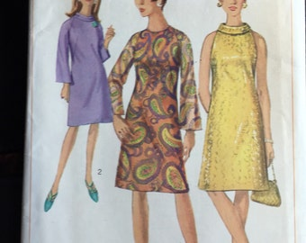 Simplicity 6783; ©1966; Misses' One-Piece Dress: The lined A-line dress with high round neckline  Unused, Bust 36