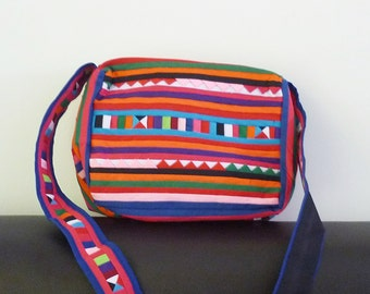 Red bag Native Akha hill tribe striped 10 x 8 inch.colorful handbags Tribal bag women fashion