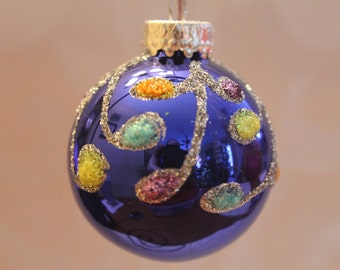 Royal Blue Ornament with Multi Color Decorations #511
