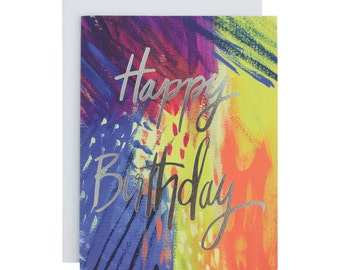 Hand Lettered Birthday Card, Silver Foil, Hand Painted, Abstract Design, Colorful, Fun