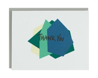 Geometric Thank You Card, Modern, Hand Lettered, Blue, Green