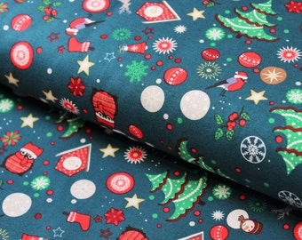 Christmas Themed Cotton Fabric, Quilt Weight Cotton - Fat Quarter