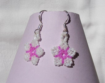 Dainty Flower Earrings - White and Pink on Sterling Silver Earwires