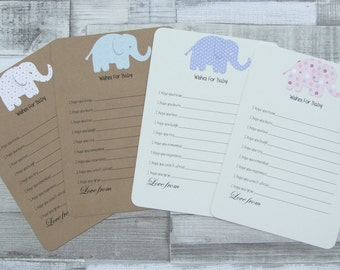 Kraft Or Ivory Cream, Baby Shower, Baby Wish Cards, Baby Advice Cards, Baby Elephant Cards, Guest Cards - Set Of 10 - UK