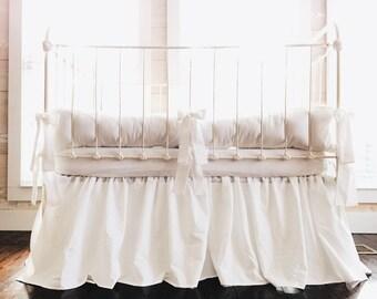 Farmhouse Tailored 100% Washed Cotton White Nursery Bedding