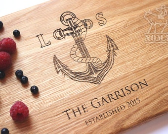 Personalized Cutting Board Nautical Anchor Cutting Board - Anniversary Wedding Engagement Birthday Gift for her Gift for couple