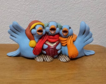 Ceramic Caroling Birds -One with brown Cap and yellow trim (#532A)