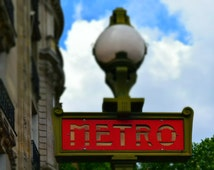 Street Sign of Paris, Metro Sign, Paris Train Station, Metro, Streets of Paris, Urban, Office Decor, Fine Art, Paris Street Light, Metro