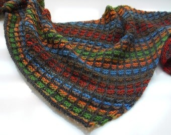 Hand knit scarf,Hand knit multicolored scarf,hand knit scarf,Multicolor asymmetrical shawl, women accessories