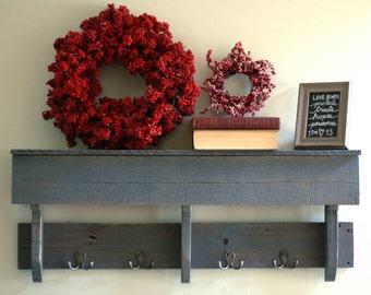 Reclaimed Wood Hook Shelf, Shelf with Hooks, Gray Shelf, Rustic Shelving, Hook Shelf, Rustic Wall Shelf, Pallet Wood Shelf, Rustic Shelf