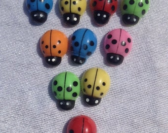 Set Of 20 Ladybugs In 6 Colors 0.75 Inch Scrapbooking Craft Supplies