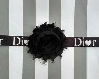 Dior logo printed elastic headband with black or white shabby flower for baby, toddler and adult