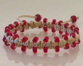 Macrame bracelet, bracelet, red and gold bracelet, beaded bracelet, red beaded bracelet,beautiful bracelet, gift for her, handmaid bracelet.