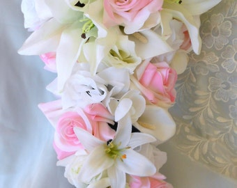 Silk Bride Cascade bouquet pink , ivory and white roses, callas, casablanca lilies
