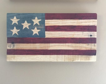 Mini Reclaimed Wooden American Flag - Handmade Reclaimed Wooden American Flag - Reclaimed Wood American Flag