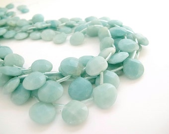Amazonite faceted briolette beads 13x13mm, Aqua blue gemstone beads, High Quality, Full strand  beads