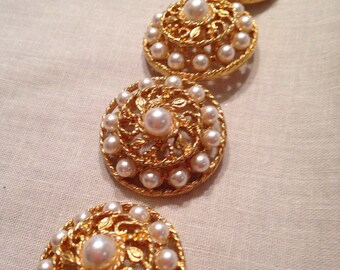 Vintage Pearl Buttons Set of 4