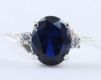 Royal Blue Sapphire Ring with White Sapphire in 100% Eco-Friendly Recycled Sterling Silver for YOU! September Birthstone FREE SIZING 5-11!