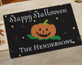 Halloween Doormat*Black Background with Happy Halloween and Pumpkin Design*Personalize w/ Text in different fonts & colors