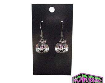 Halloween Pumpkin Dangle/Drop Silver Earrings