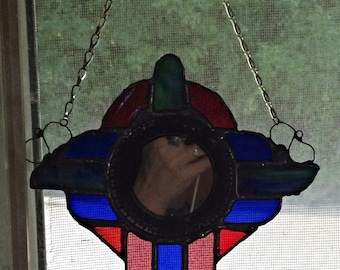Southwestern Art Nuveua Styled Etched Mirror Stained Glass Suncatcher by Nickole Schmidt for WimsicalGlassography