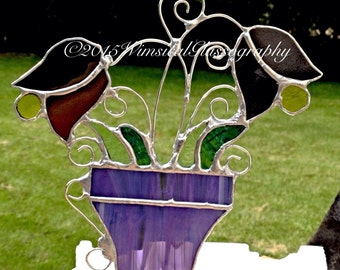 Whispy Purple And Mixed Colors Stained Glass Whimsical Flower Pot Sun Catcher By Nickole Schmidt For WimsicalGlassography
