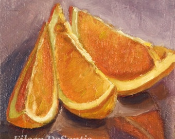 Three Orange Slices Oil Painting, Still Life Orange Painting, Modern Art, Orange Painting, Kitchen art, Wall Decor, SFA, Impressionism