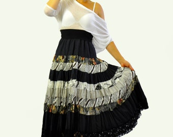 Cotton long extravagant skirt/Gypsy black and white skirt/Woman skirt flounces/Ruffles Long skirt/Bohemian skirt/Handmade skirt/Gabyga S1406