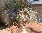 Antique Brass Table Lamp Base Stand Brass Figurine Decorative Table Lamp Regency Decor Brass Statue Elizabethan Gent 19th Century