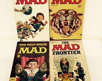 Vintage lot of 1960s Mad paperbacks featuring Alfred E Neuman