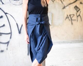 Loose Linen Harem Pants, Extravagant Linen Drop Crotch Black Pants, Extravagant Trousers by EUGfashion - PA0743LE