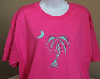 Reverse Appliqued Palm Tree On Short Sleeve T-shirt
