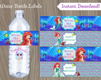 Little Mermaid Water Bottle Label, Ariel Bottle Label, Disney Little Mermaid, Little Mermaid Birthday, Princess Ariel, Mermaid bottle label