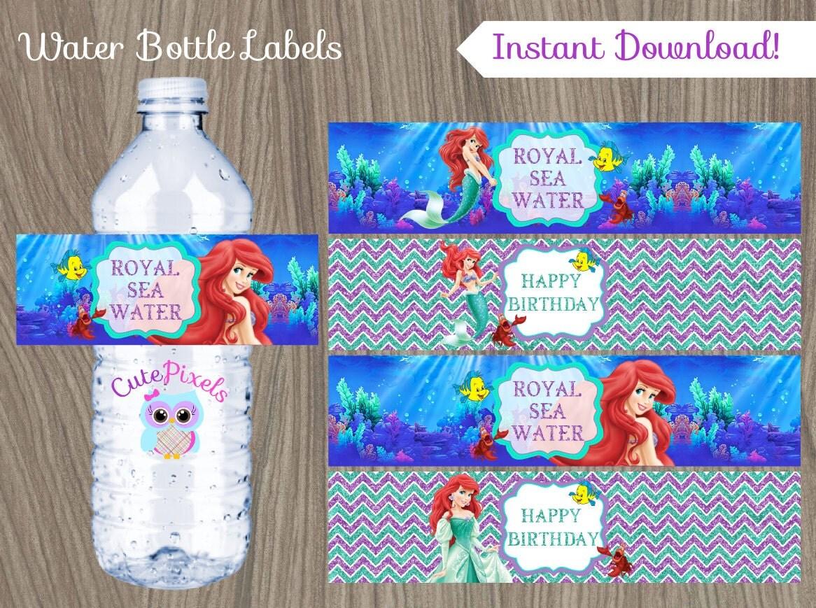 Little Mermaid Water Bottle Label Ariel Bottle Label Disney