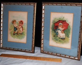 1940s pair of Child's Nursery Ryme Framed Colorized Prints