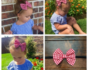 Red Gingham Print Bow