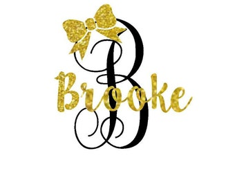 Glitter Personalized Iron On Name, Shirt Iron On, Custom Monogram Decal, Iron On Monogram, Iron On Initials