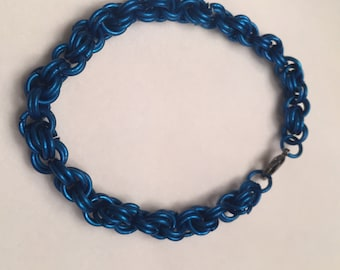 Blue Twisted Chainmail Bracelet